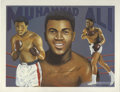Boxing Collectibles:Autographs, Muhammad Ali Signed Print. Here we offer this Ali print from theart of Don Sprague, signed by Ali himself. The greatest h...
