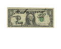 Boxing Collectibles:Autographs, Muhammad Ali Signed Dollar Bill. On this one dollar bill resides asignature by the Greatest, along with the personalized i...