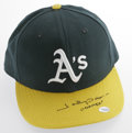 Baseball Collectibles:Hats, 2001 Johnny Damon Game Worn Cap. Oakland cap shows strong wear from the player's only year with Athletics. Perfect black s...