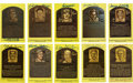 Autographs:Post Cards, Signed Gold Hall of Fame Plaques Lof of 10. Gold Hall of Famepostcards have been signed by ten of baseball's greatest. In...