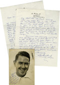 Golf Collectibles:Autographs, Lew Worsham Signed Photograph/Letter. Worsham, who in 1953 won the first golf tournament to be broadcast nationally, has si...