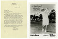 Golf Collectibles:Autographs, Patty Berg Signed Letter/Photograph. Patty Berg, founding memberand leading player on the LPGA tour in the 1930s, 40s and ...