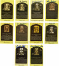 Autographs:Post Cards, Signed Gold Hall of Fame Plaques Lot of 42. Gold HOF plaquepostcards from 42 of baseball's all-time greats are offered her...