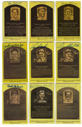 Autographs:Post Cards, Signed Gold Hall of Fame Plaques Lof of 9. Nine signed gold Hall ofFame postcards from Haines, Hafey, Slaughter, Brock, Mus...