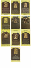 Autographs:Post Cards, Signed Gold Hall of Fame Plaque Lot of 10. Ten gold Hall of Famepostcards have each been signed by the likes of DiMaggio, ...