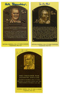 Autographs:Post Cards, Signed Gold Hall of Fame Plaque Lot of 3. Each of these three gold HOF plaque postcards have been signed by one of baseball...