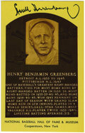 Autographs:Post Cards, Hank Greenberg Signed Gold Hall of Fame Plaque. Greenberg, one ofthe most ferocious hitters known to the game of baseball,...
