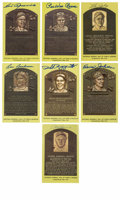 Autographs:Post Cards, Signed Gold Hall of Fame Plaques Lot of 7. Gold HOF postcards have been signed by seven of baseball's all-time greats. Inc...