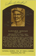 Autographs:Post Cards, Sandy Koufax Signed Gold Hall of Fame Plaque. Perfect conditiongold HOF plaque postcard has been signed Sandy Koufax, the ...