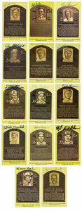 Autographs:Post Cards, Signed Gold Hall of Fame Plaques Lof of 14. Fourteen signed gold Hall of Fame postcards are offered here including Lemon, P...