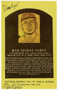 Autographs:Post Cards, Max Carey Signed Gold Hall of Fame Plaque. Max Carey, regarded asone of the peskiest base stealers in baseball's history, ...