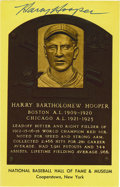 Autographs:Post Cards, Harry Hooper Signed Gold Hall of Fame Plaque. Hooper, the right fielder who still holds many team records for the Boston Re...