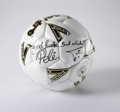 Autographs:Others, Pele and Tatu Signed Soccer Ball. Just in time for the World Cupthis summer in Germany, we offer this Mitre soccer ball si...