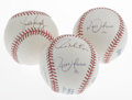 Autographs:Baseballs, Baseball Stars Signed Baseballs Lot of 3. Three OAL (Brown)baseballs have each been signed by these sluggers. Juan Gonzal...(Total: 3 Items)