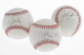 Autographs:Baseballs, Baseball Superstars Single Signed Baseballs Lot of 3. Offered hereare single signed orbs from three of the biggest bats of... (Total:3 Items)