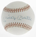 Autographs:Baseballs, Mickey Mantle Single Signed Baseball. Excellent vintage exampleofficial American League baseball bears the MacPhail stamp ...