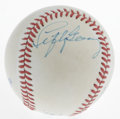 Autographs:Baseballs, Lefty Gomez Single Signed Baseball. Although this OAL (Brown)baseball is beginning to show light signs of foxing, it also ...