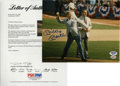 "Autographs:Photos, Mickey Mantle Signed Photograph. Offered here is a marvelous 8x10""photograph of Mickey Mantle throwing an Opening Day pitc..."
