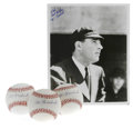 Autographs:Baseballs, Al Barlick Single Signed Baseballs Lot of 3, Signed Photograph. AlBarlick, who umpired in the National League for over thr... (Total:4 Items)