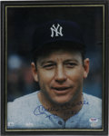 "Autographs:Photos, Mickey Mantle Signed Photograph. Offered here is a quite stunning11x14"" close up of the Mick signed in an 10/10 blue sharp..."