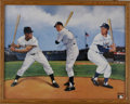 Baseball Collectibles:Others, Mickey, Willie, and The Duke Signed Print. These three make bigwaves in the New York area during the '50s as the centerfie...