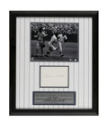 Autographs:Others, Mickey Mantle Signed Display. Framed and matted with specialpinstripe board, this Mantle display includes a black and whit...