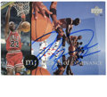 Basketball Collectibles:Others, Michael Jordan Signed 'Decade of Dominance' Upper Deck Postcard. In honor of perhaps the most dominant player to ever grace...