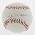 Autographs:Baseballs, Hank Aaron Single Signed Baseball. The Home Run King has applied abeautiful signature to the sweet spot of this ONL (White...