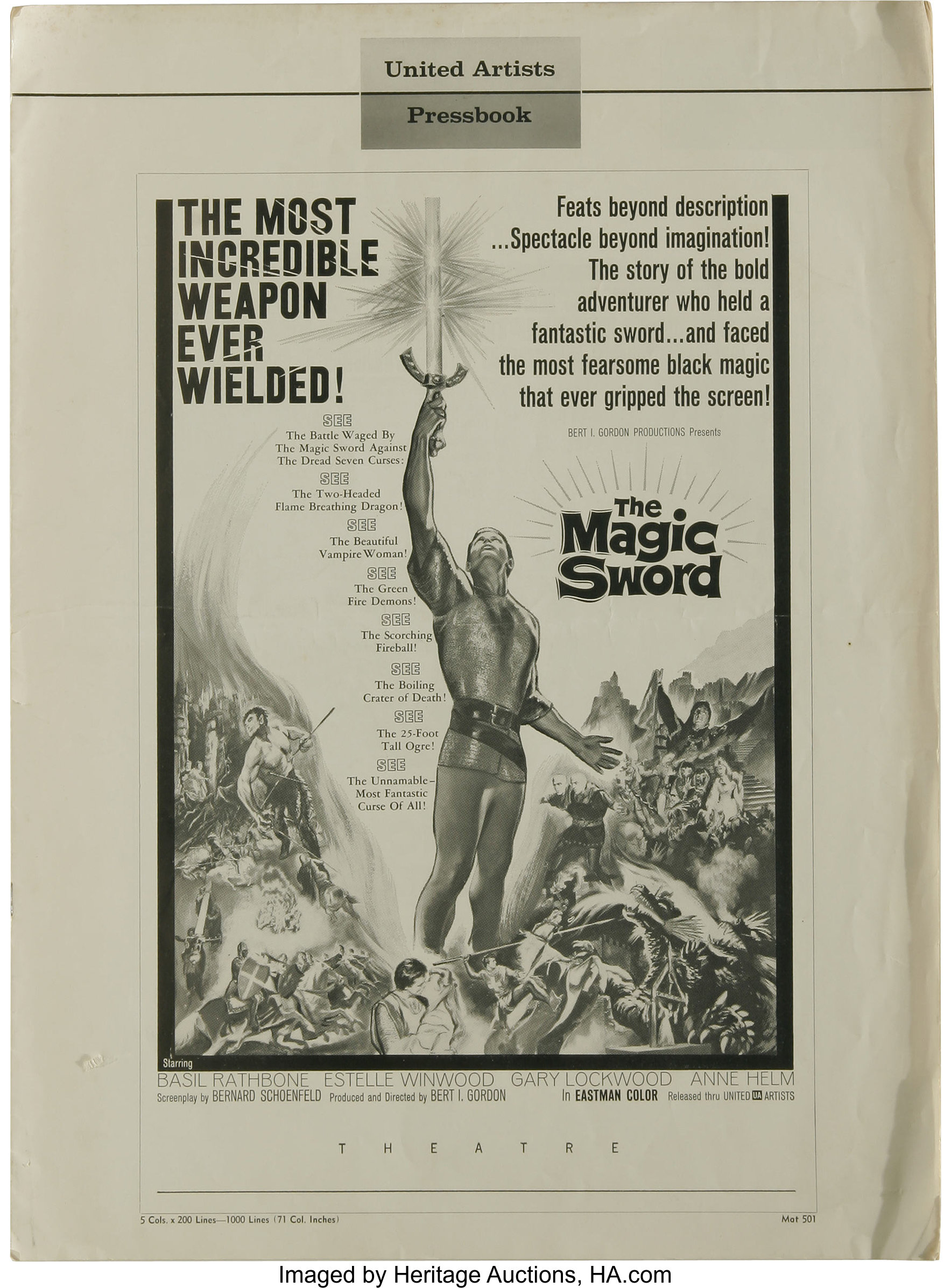 The Magic Sword (United Artists, 1962)  Pressbook (Multiple Pages
