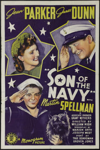 """Son of the Navy (Monogram, 1940). One Sheet (27"""" X 41""""). James Dunn and Jean Parker star in this drama about a..."""