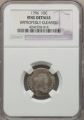 Early Dimes, 1796 10C JR-3, R.5 -- Improperly Cleaned -- NGC Details. Fine....