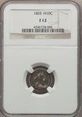 Early Half Dimes, 1803 H10C Large 8, V-1, LM-2, R.4, Fine 12 NGC....