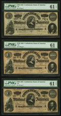 Confederate Notes:1864 Issues, T65 $100 1864 PF-2 Cr. 493, Three Consecutive Examples.. ... (Total: 3 notes)