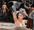 Paintings, Mort Künstler (American, b. 1931). The Nude Decoy, Stag magazine interior illustration, 1957. Gouache on board. 16.5 x 1...