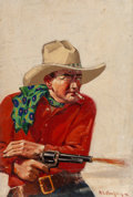 Paintings, Harry Crouse Murphy (American, 20th Century). The Lobo Brand, Action Stories pulp magazine cover, January 1930. Oil on c...