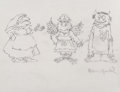 Mainstream Illustration, Maurice Sendak (American, 1928-2012). One, Three, and Mom, SevenLittle Monsters preliminary. Pencil on tracing paper. 8...