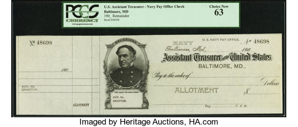 Miscellaneous:Other, United States Assistant Treasurer Baltimore, MD Navy Pay OfficeCheck 190_ . ...