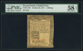 Colonial Notes:Pennsylvania, Pennsylvania October 25, 1775 1s PMG Choice About Unc 58 EPQ.. ...
