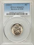 Jefferson Nickels, 1939-S 5C Reverse of 1938 MS66 Full Steps PCGS. PCGS Population (19/0). NGC Census: (1/0). Numismedia Wsl. Price for probl...