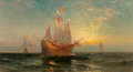 Fine Art - Painting, American:Antique  (Pre 1900), Edward Moran (American, 1829-1901). Galleon at Sunset. Oilon canvas laid on board. 20 x 36 inches (50.8 x 91.4 cm). Sig...