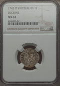 Swiss Cantons:Luzern, Swiss Cantons: Lucerne. Canton Schilling 1742-IT MS62 NGC,...