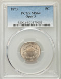 Shield Nickels, 1873 5C Open 3 MS64 PCGS. PCGS Population (74/47). NGC Census: (75/57). Mintage: 4,500,000. Numismedia Wsl. Price for probl...
