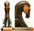 Books:Furniture & Accessories, [Bookends]. Pair of Matching Copper Finish Bookends Depicting HorseHeads. Unsigned, undated.... (Total: 2 Items)