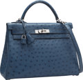 Luxury Accessories:Bags, Hermes 32cm Blue Roi Ostrich Retourne Kelly Bag with PalladiumHardware. N Square, 2010. Excellent Condition.12.5...