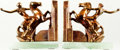 Books:Furniture & Accessories, [Bookends]. Pair of Matching Bookends Depicting Rearing Horse withRider. Unsigned, undated.... (Total: 2 Items)