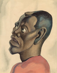 Thomas Hart Benton (American, 1889-1975) Negro Head, circa 1924 Watercolor on paper 20 x 16-1/4 i