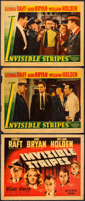 "Invisible Stripes (Warner Brothers, 1939). Linen Finish Title Lobby Card & Lobby Cards (2) (11"" X 14"")..."