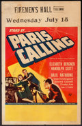 "Movie Posters:Drama, Paris Calling (Universal, 1941). Window Card (14"" X 22""). Drama.. ..."
