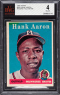 Baseball Cards:Singles (1950-1959), Rare 1958 Topps Hank Aaron (Blue Background) #30 BVG VG-EX 4 - Only Three Graded Examples! ...