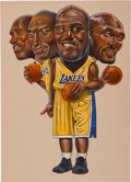 Basketball Collectibles:Others, 2004 Los Angeles Lakers Original Artwork Used for Los Angeles Timers NBA Finals Preview. ...
